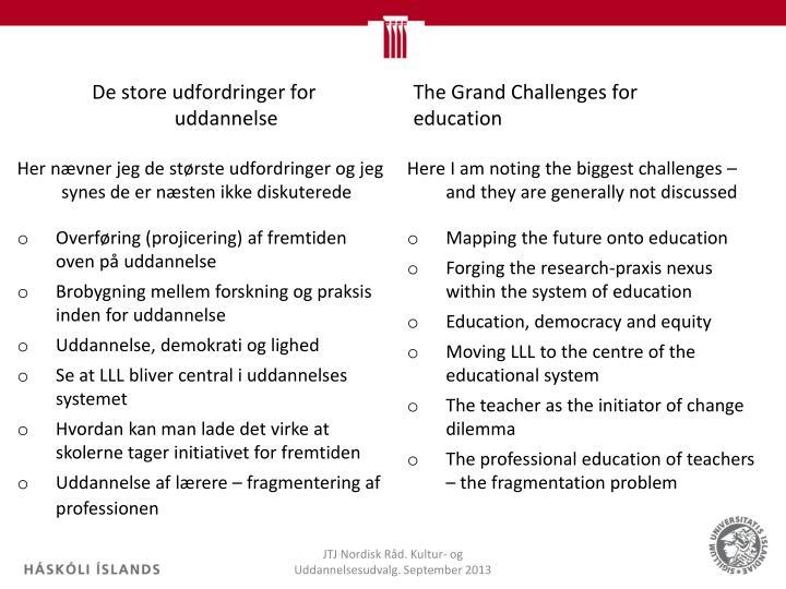 De store udfordringer for uddannelse