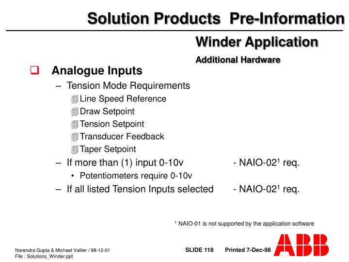 Analogue Inputs