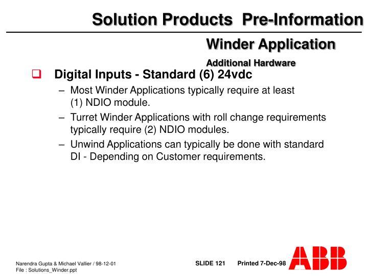 Digital Inputs - Standard (6) 24vdc
