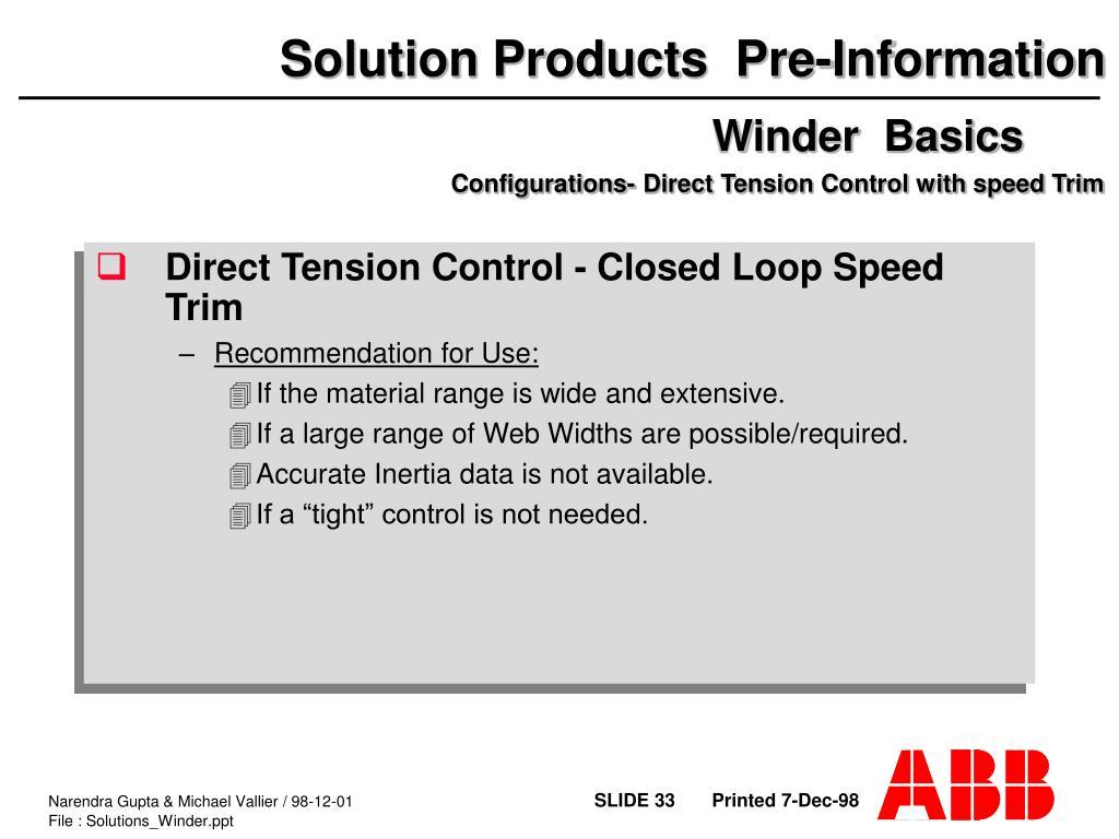 PPT - Center Winder Training Application Software General
