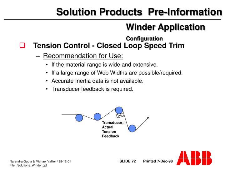Tension Control - Closed Loop Speed Trim