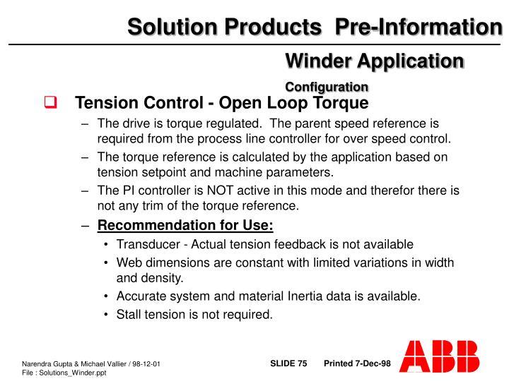 Tension Control - Open Loop Torque