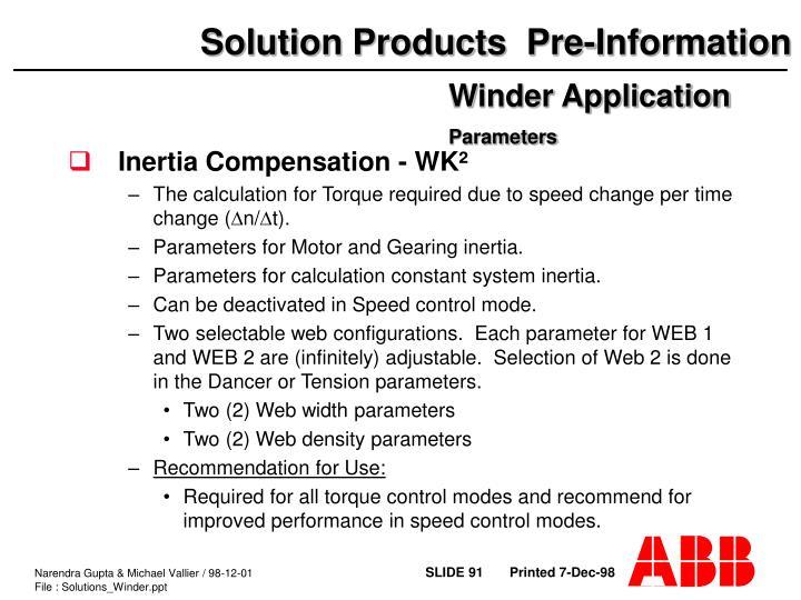 Inertia Compensation - WK²