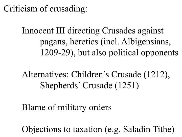 Criticism of crusading: