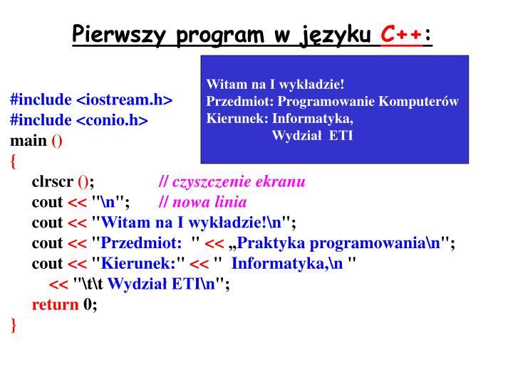 Pierwszy program w języku
