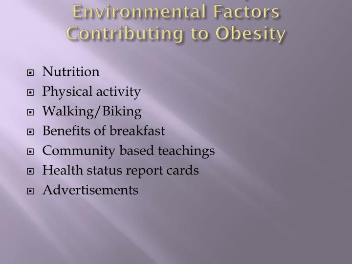 How Schools can Improve Environmental Factors Contributing to Obesity
