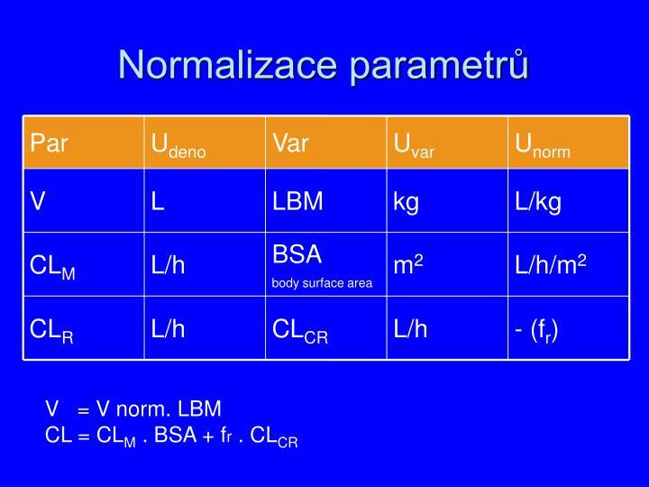 Normalizace parametrů