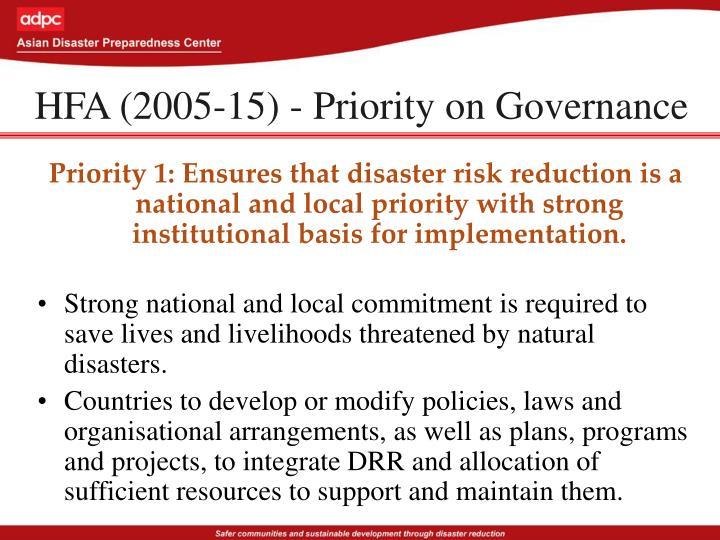 HFA (2005-15) - Priority on Governance
