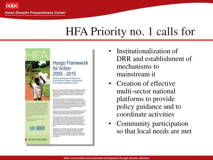 HFA Priority no. 1 calls for