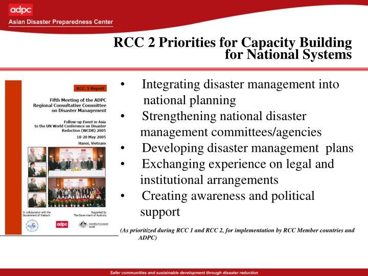 RCC 2 Priorities for Capacity Building