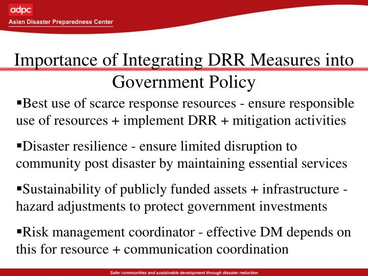 Importance of Integrating DRR Measures into Government Policy