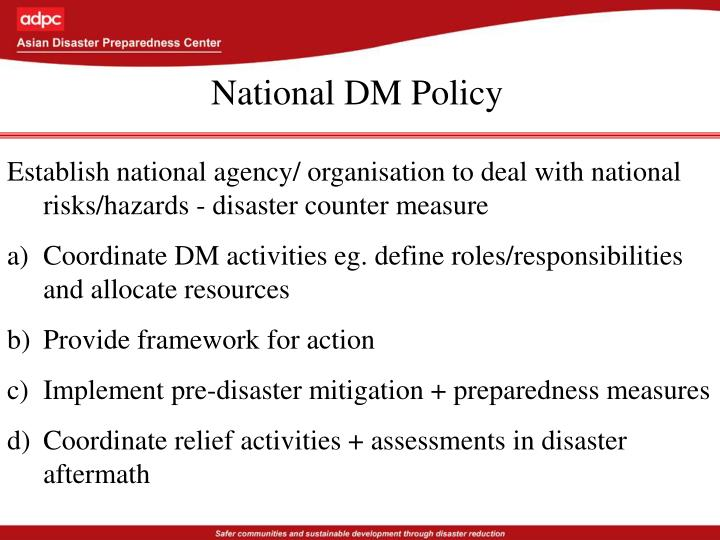 National DM Policy