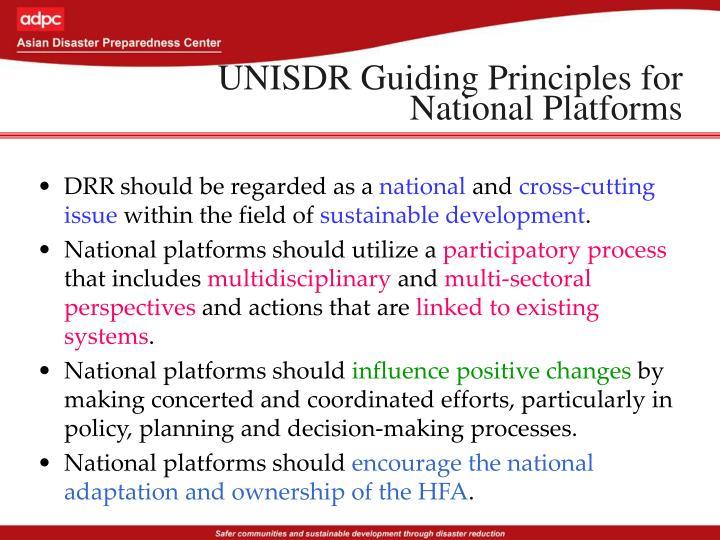 UNISDR Guiding Principles for National Platforms