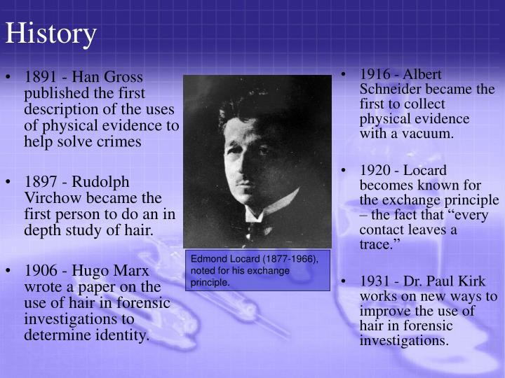 1891 - Han Gross published the first description of the uses of physical evidence to help solve crimes