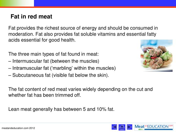 Fat in red meat
