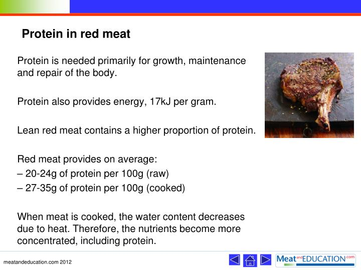 Protein in red meat