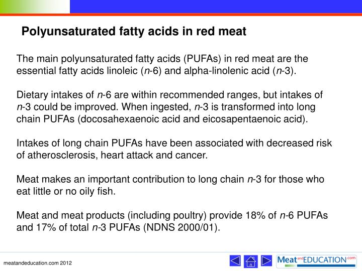 Polyunsaturated fatty acids in red meat