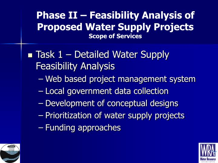 feasibility of two fresh water supply Large scale dew collection as a source of fresh water supply technical and economical feasibility of the scheme is analyzed and the possibility of.