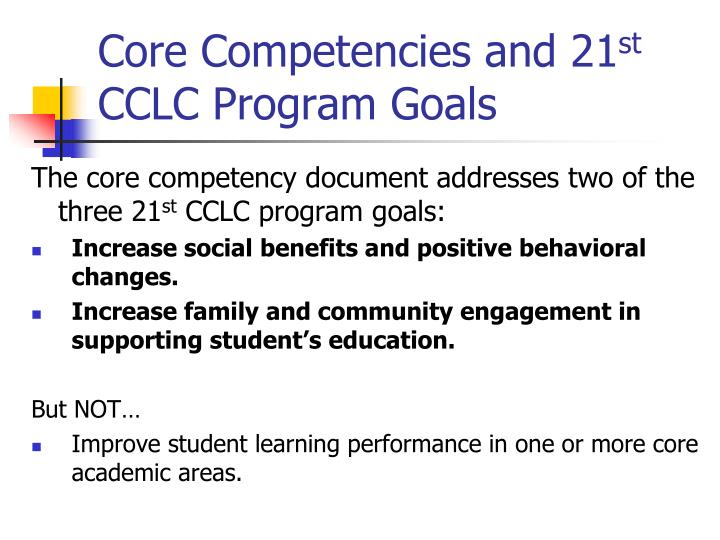 Core Competencies and 21