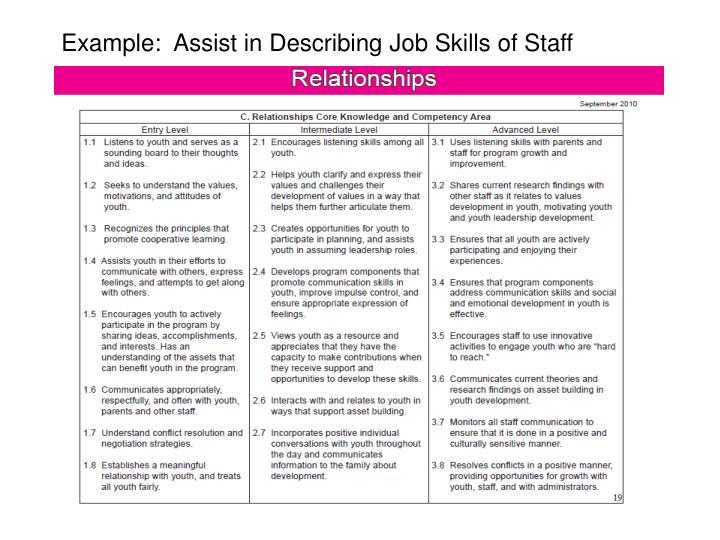Example:  Assist in Describing Job Skills of Staff