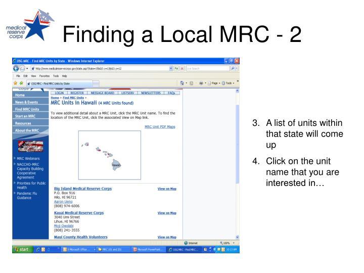 Finding a Local MRC - 2