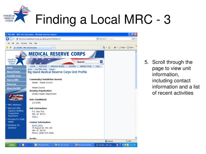 Finding a Local MRC - 3