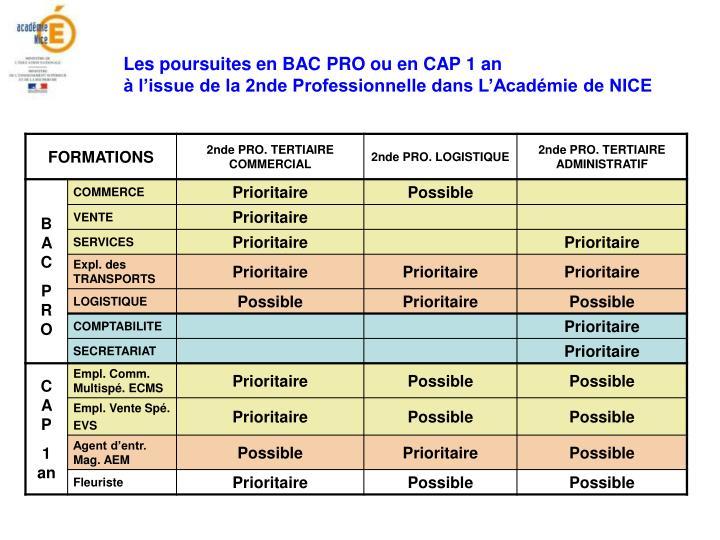 Les poursuites en BAC PRO ou en CAP 1 an