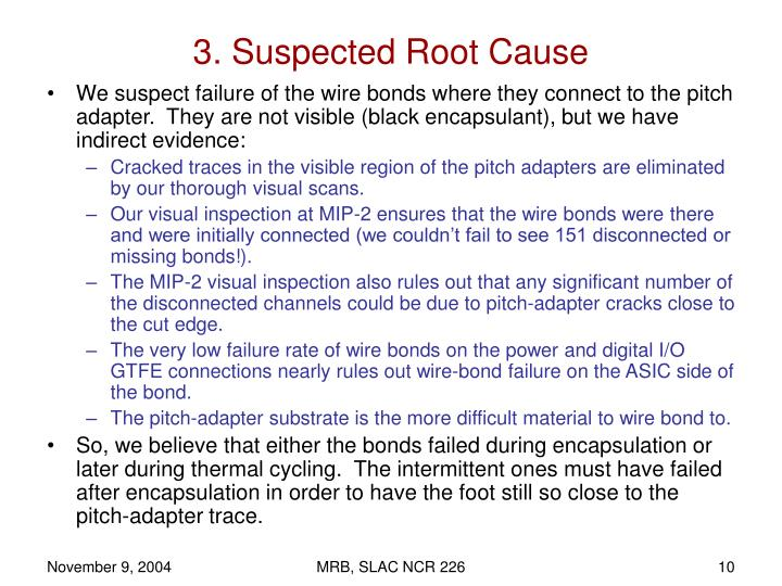 3. Suspected Root Cause