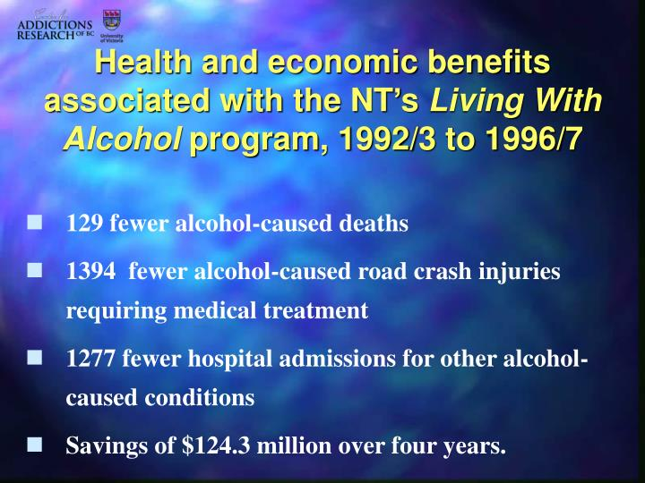 Health and economic benefits associated with the NT's