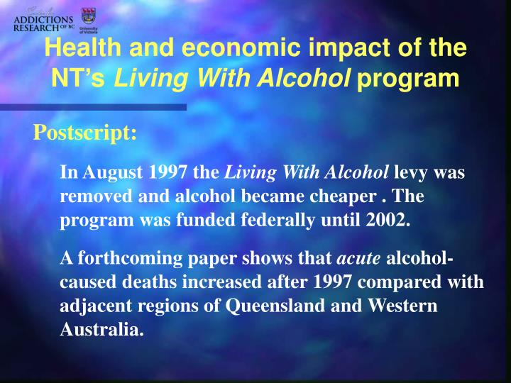 Health and economic impact of the NT's
