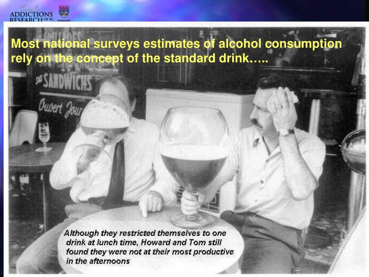 Most national surveys estimates of alcohol consumption rely on the concept of the standard drink…..