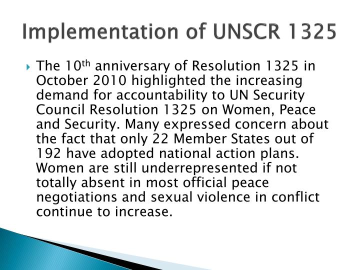 Implementation of UNSCR 1325