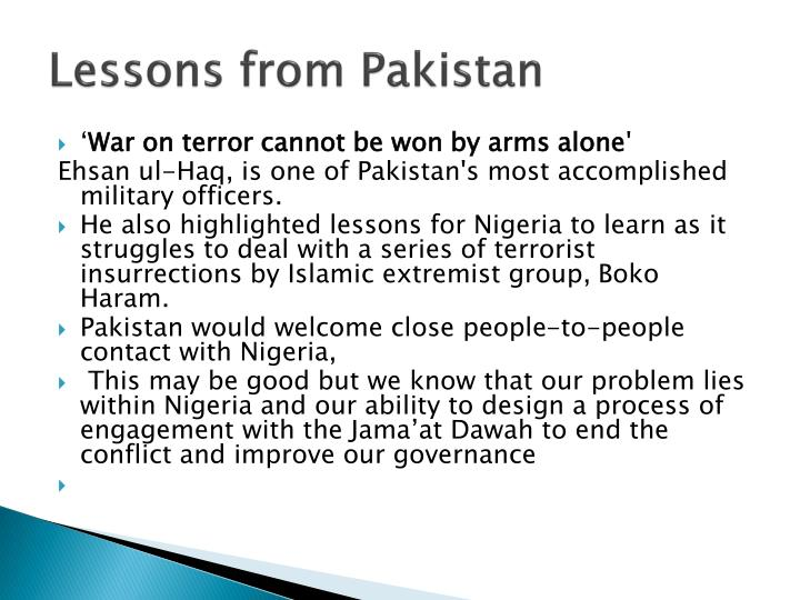 Lessons from Pakistan