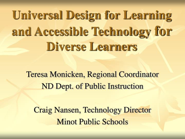 universal design for learning and accessible technology for diverse learners n.