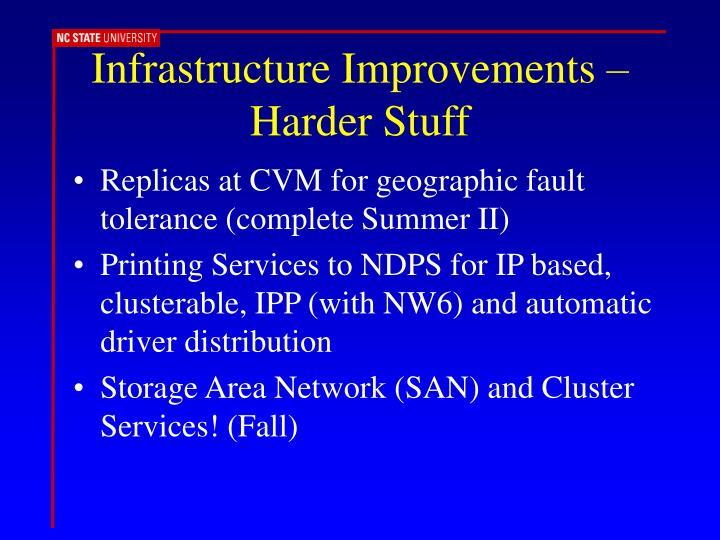 Infrastructure Improvements – Harder Stuff