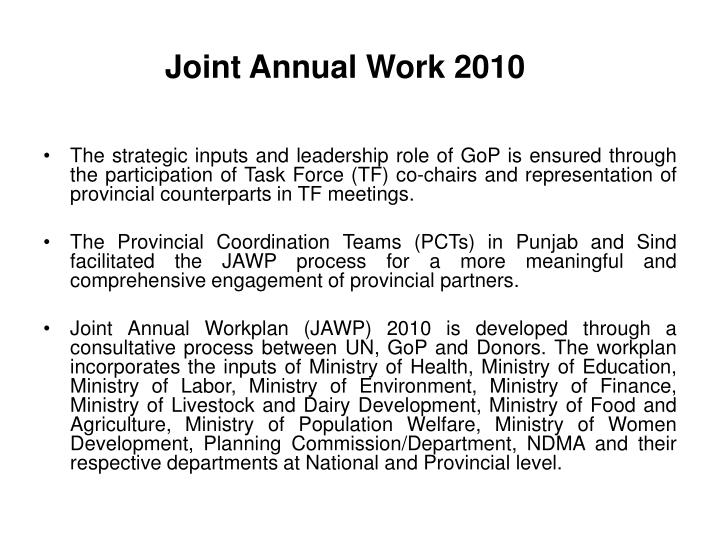 Joint Annual Work 2010