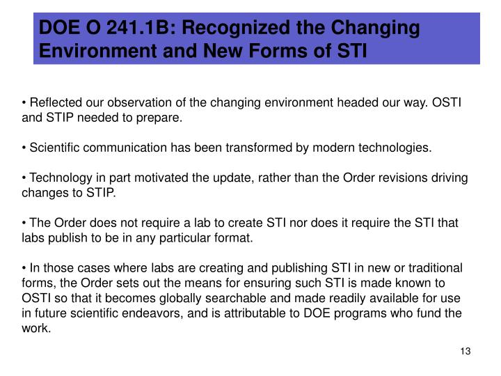 DOE O 241.1B: Recognized the Changing Environment and New Forms of STI