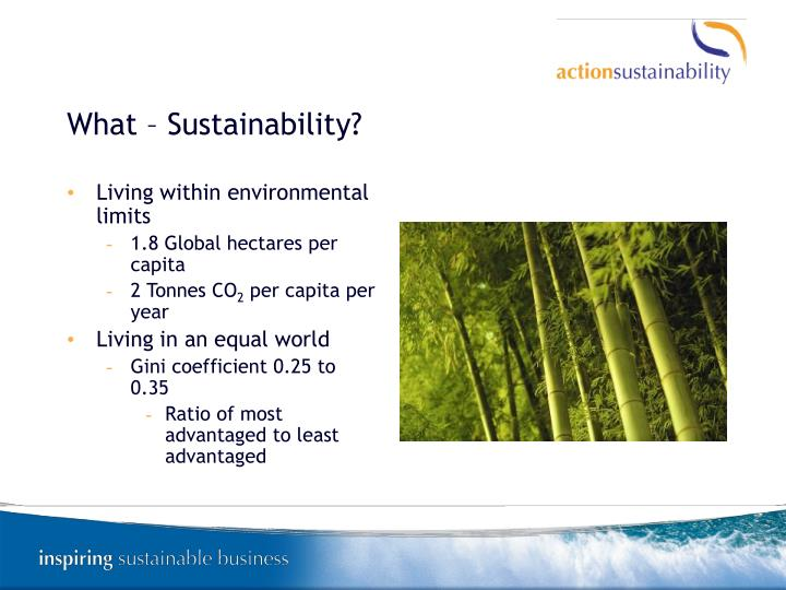 What – Sustainability?