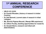 1 st annual research conference