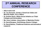 2 nd annual research conference