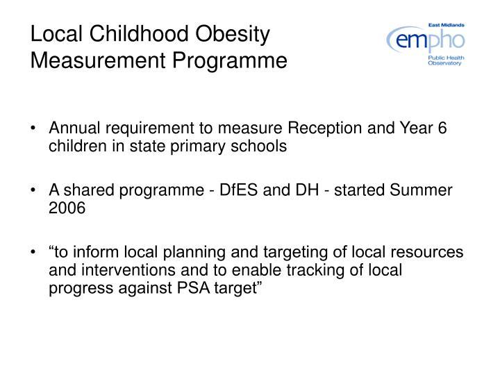 Local Childhood Obesity