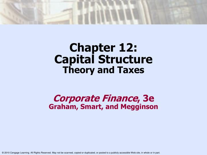 chapter 15 capital structure decisions Capital structure [chap 15 & 16] -1 capital structure [chapter 15 and chapter 16] • contents i introduction ii capital structure & firm value without taxes iii.