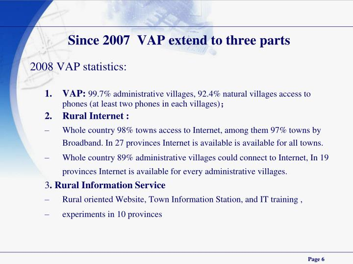 Since 2007  VAP extend to three parts