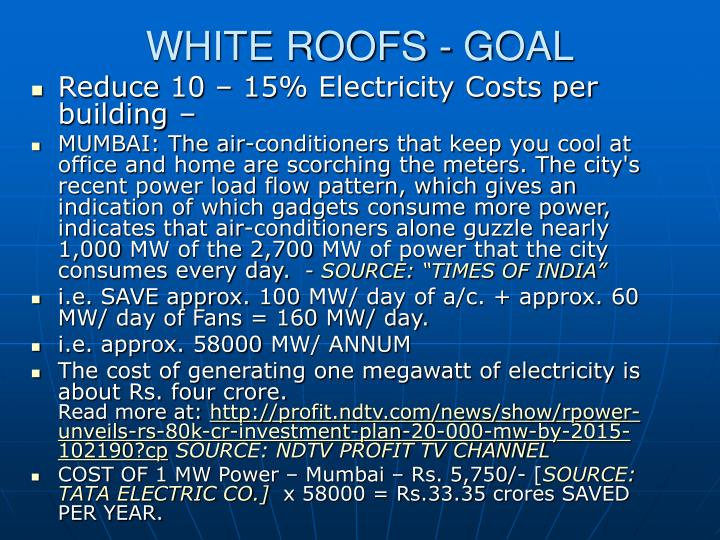 WHITE ROOFS - GOAL