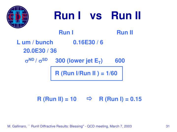 Run I   vs   Run II