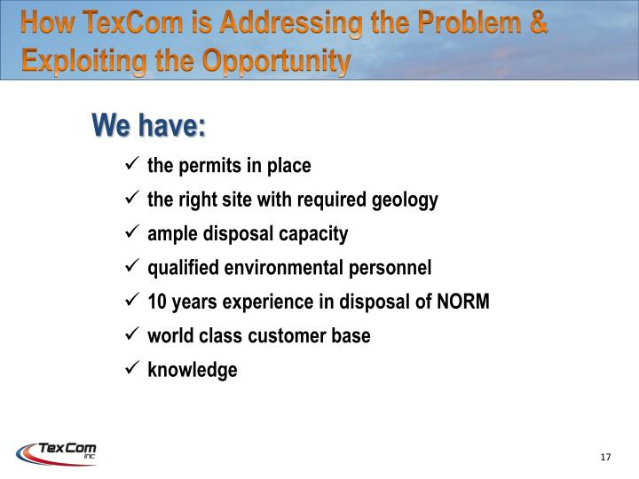 How TexCom is Addressing the Problem &