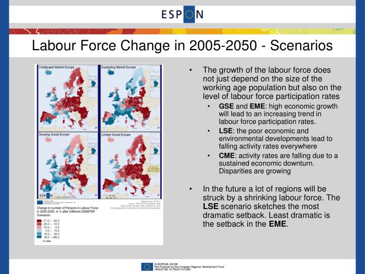 Labour Force Change in 2005-2050 - Scenarios