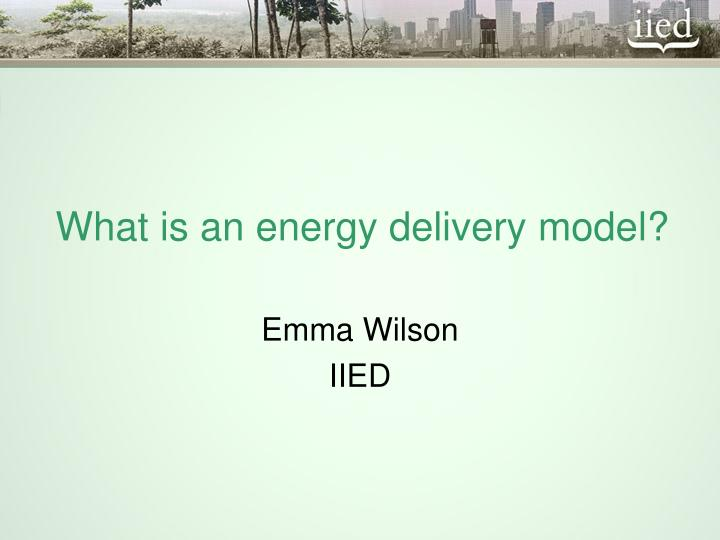 What is an energy delivery model?
