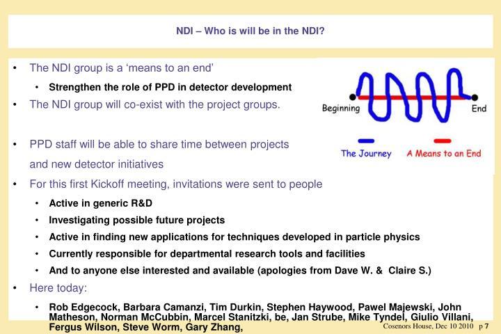NDI – Who is will be in the NDI?