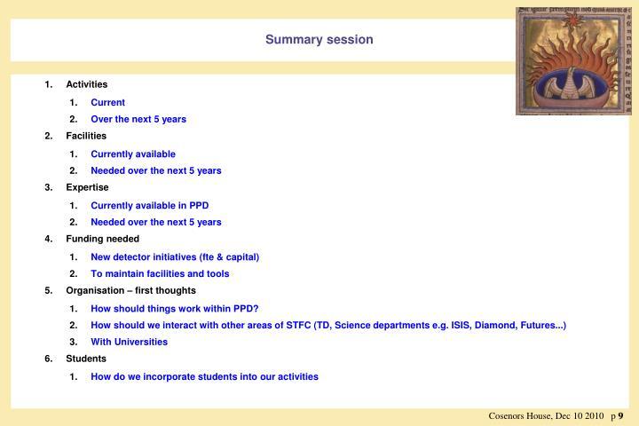Summary session
